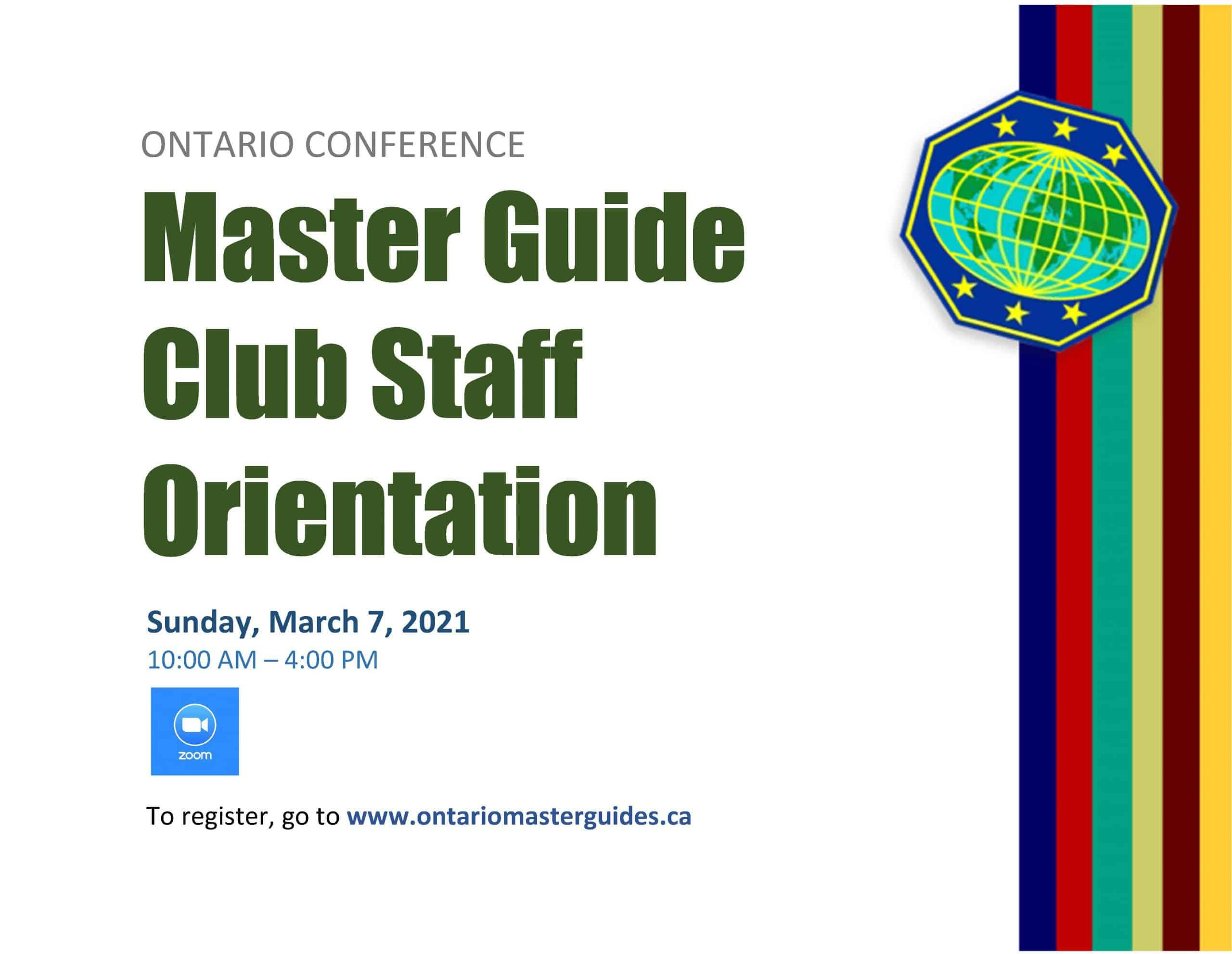 Master Guide Club Staff Orientation 2021